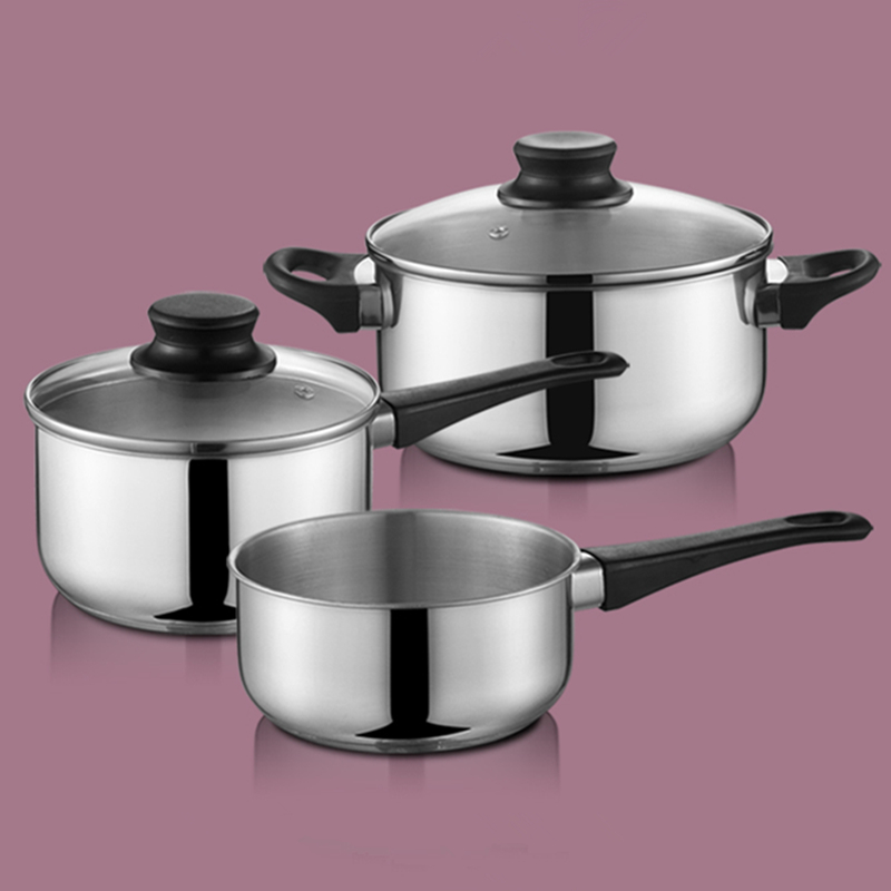 5pcs economical camping stainless steel milk soup pot cooking set