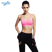 High Quality Fitness Wear Custom Design Girls Hot Sex Seamless Sports Bra Without Steel Ring