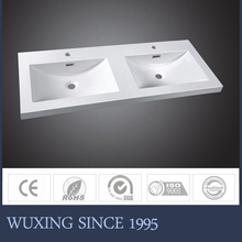 WX-6033 resin stone drainer double bowl sink bathroom