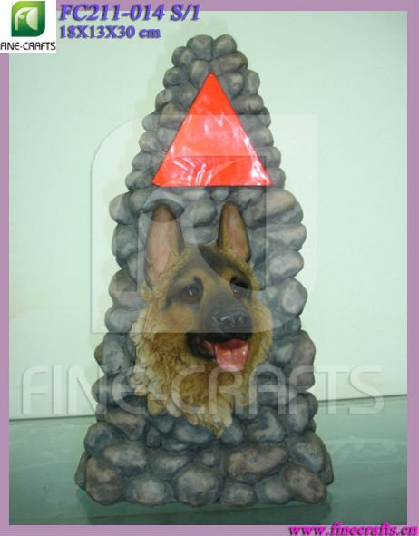 Resin dog statue garden dircation LED light