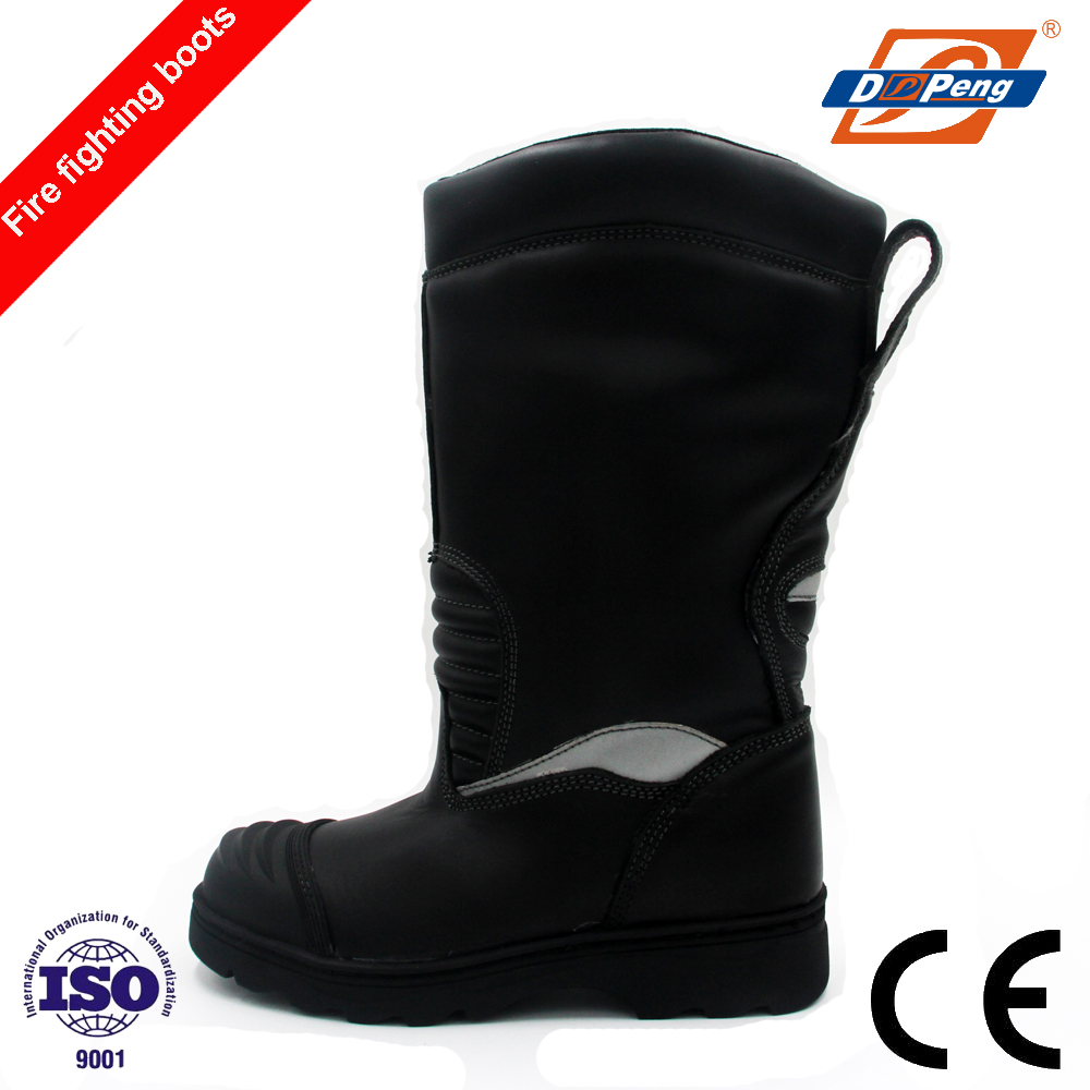 patent rubber sole water proof fire resistant firefighter protective boots with anti-collision shoe toe