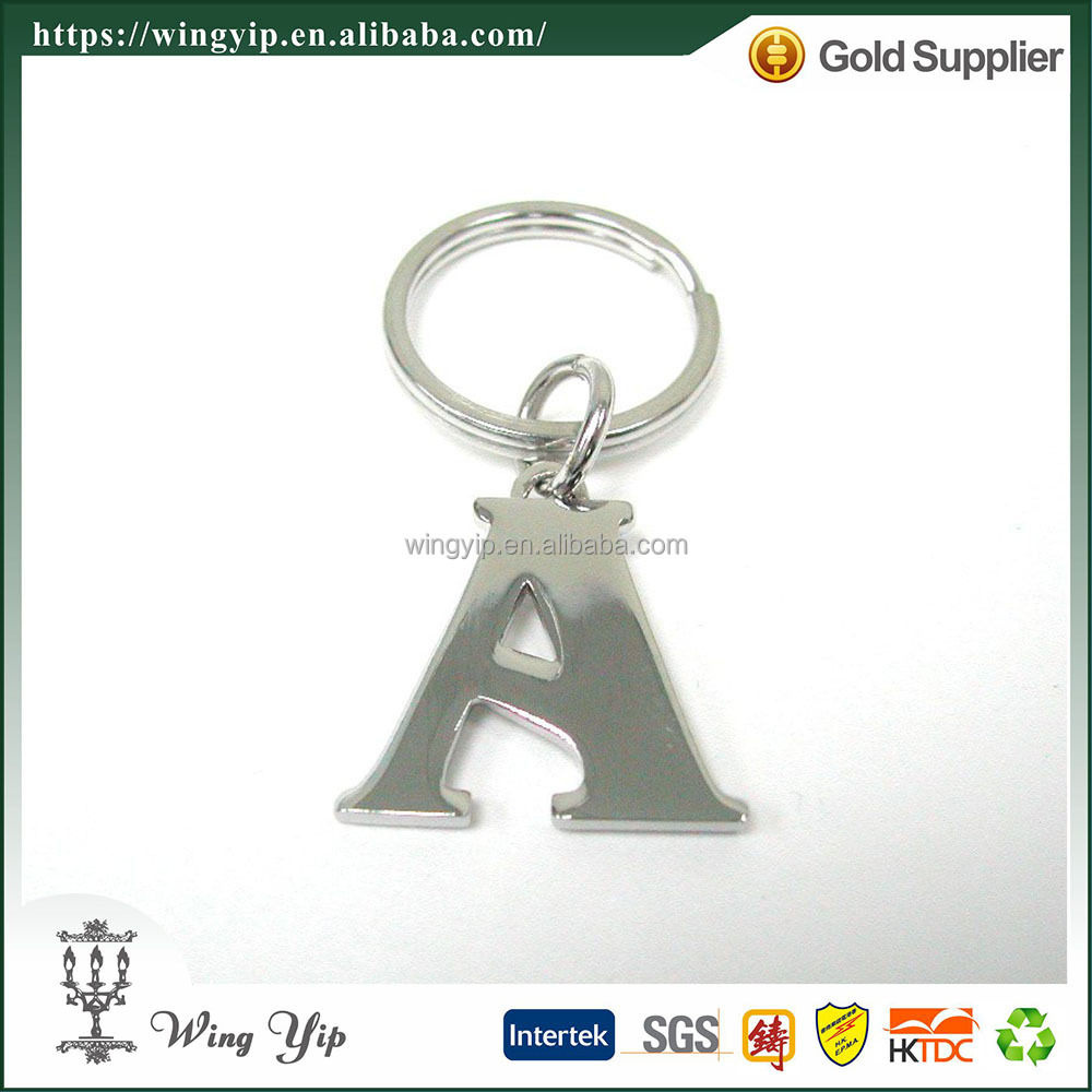 Wholesales custom made Letter Alphabet electroplate Gift Keychain