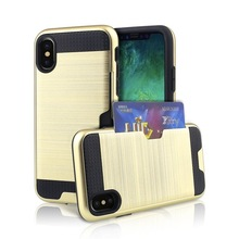 Luxury PC Brushed Back Cover Hybrid Armor Silicon Phone Case With Wallet Card Holder Slot For iphone X Cover