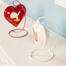 hanging love shape mercury glass candle holder