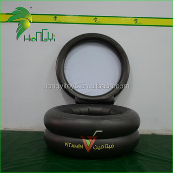 PVC Black Inflatable Cylinder Beer Cooler , Inflatable ice bucket For Bar