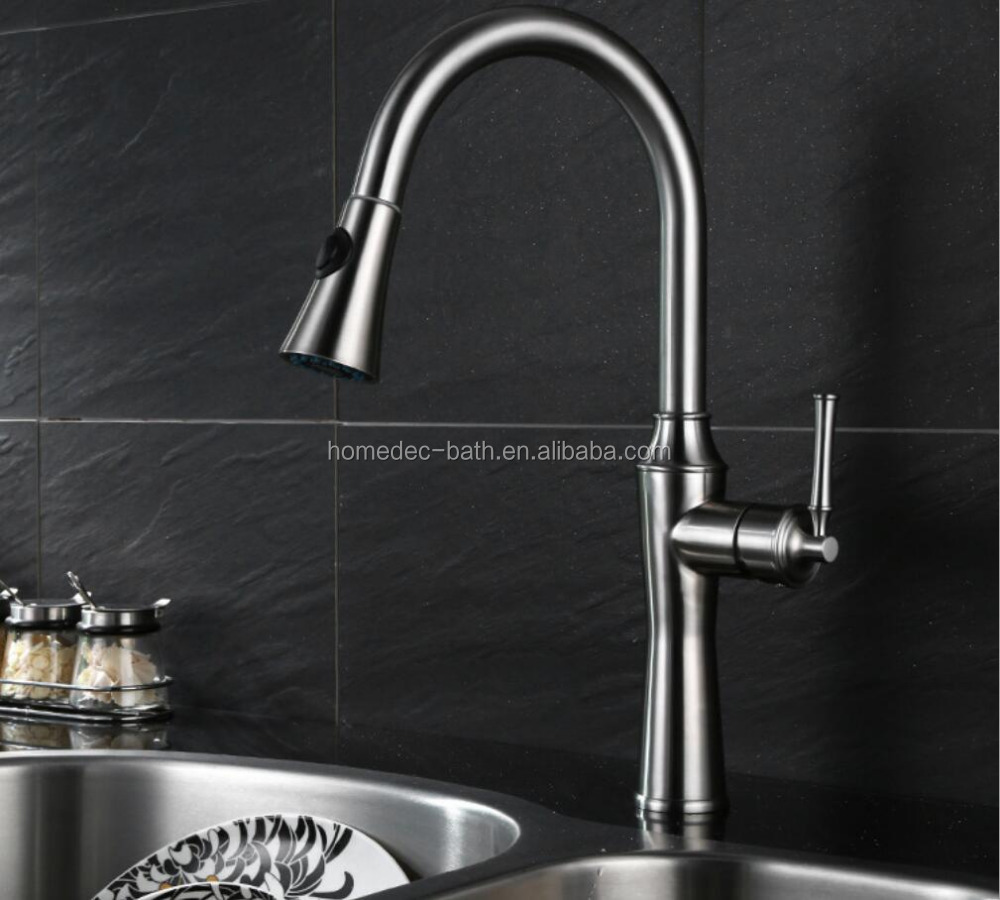 Commercial Single Handle Pull Out Stainless Steel Kitchen Faucet