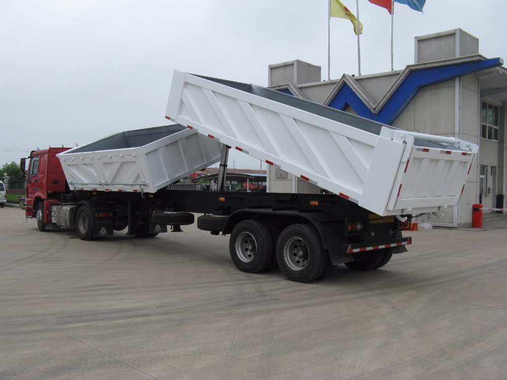SIde and rear tipper semi trailer 30tons double boxes side and rear tipper
