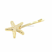 Gold plated sea theme ocean animal starfish hairpin