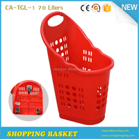 CA-TG-1 70 liters Red color rolling plastic shopping basket with wheels