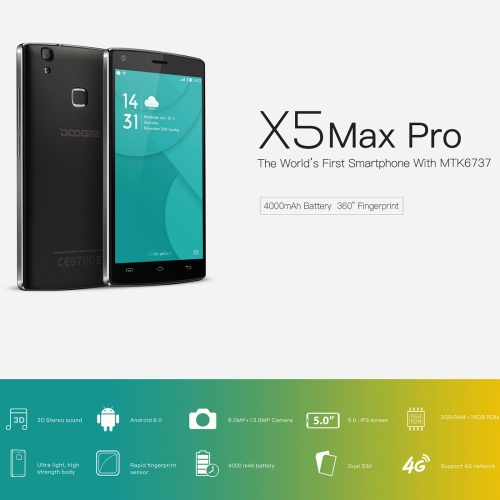 Mobile Phone Ringtones Free Download 2GB RAM DOOGEE X5 MAX Pro 16GB 5.0 inch Android Mobile Phone