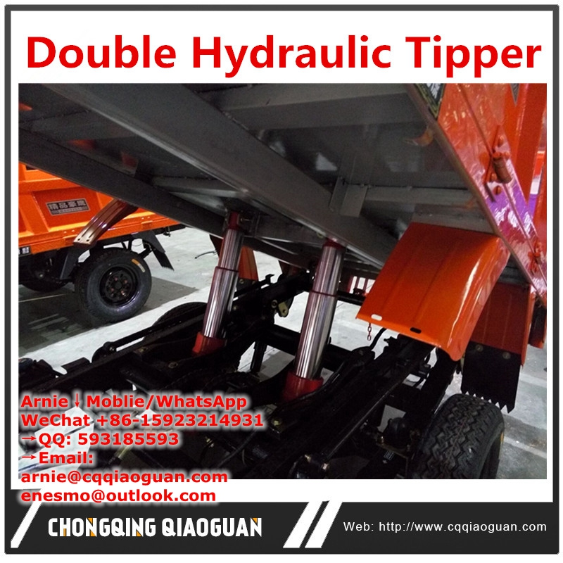 Chongqing Hot Pot Red Double hydraulic tipper cargo tricycle motorcycle dumping Handle easily