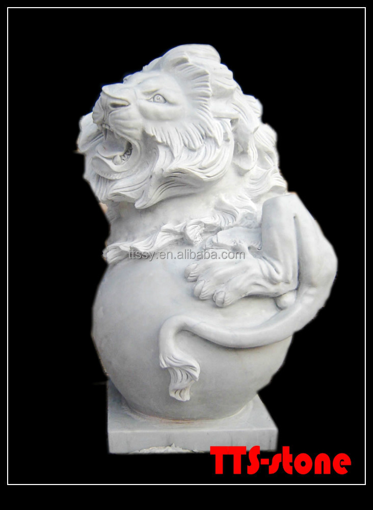 Marble roll ball Stone Carving Lion Statue