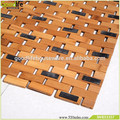 Bamboo color bath mat set foldable non slip bath mat wholesale