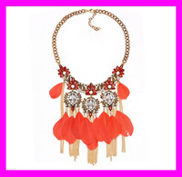 Newest fashion beautiful girls gold crystal pendant necklace HD6905