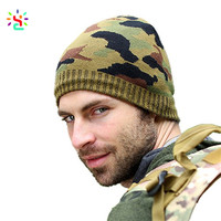 Factory direct winter lined beanies green camo knit beanie cap new fashion men knitted hat without brim