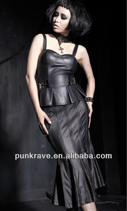 PUNK RAVE fish tail leather long maxi skirt with the elastic zip made in china Q-183