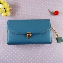 Hot sale genuine litchee leather wallet zipper case for note 2 3 4 credit card holder lady zipper purse wholesale