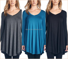 Loose Stretchy Long Sleeves minimalist Tunic Tops