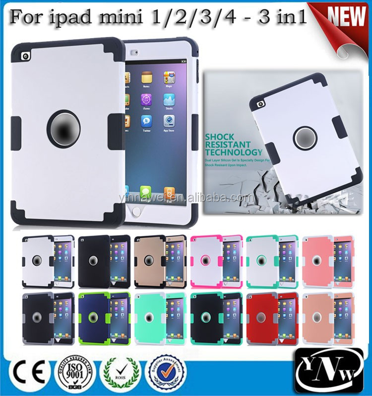 Alibaba Chinese Supplier Ultra strong heavy duty rugged case for ipad mini 1/2/3 TPU+PC combo case For ipad mini 4