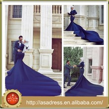 SMA14 Latest Abaya Long Sleeve Kaftan Arabic Purple Mermaid Hijab Musilim Evening Dresses from Dubai