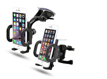 2-in-1 Mobile Phone Car Mount, Holder, Secure Phone/GPS to Windshield or Air Vent, Padded, Adjustable Grips, For Iphone 6 6+ 5