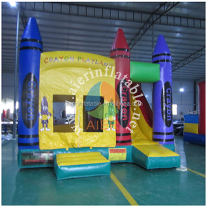 China crayon playing bounce inflatable castle, jumping castle with slide for kids