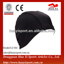 Black Durable comfortable nylon protect head fabric swim cap
