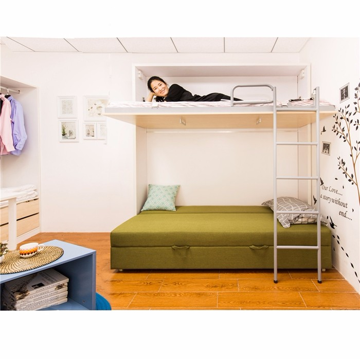 Horizontal hidden murphy wall bed home furniture mutable bunk bed for space saving buy - Double deck bed designs for small spaces pict ...