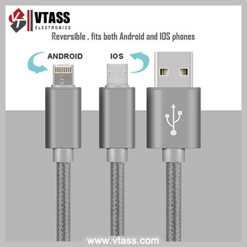 High quality high speed 2 in 1 usb cable for iphone and Android cell phone date sync charger cable