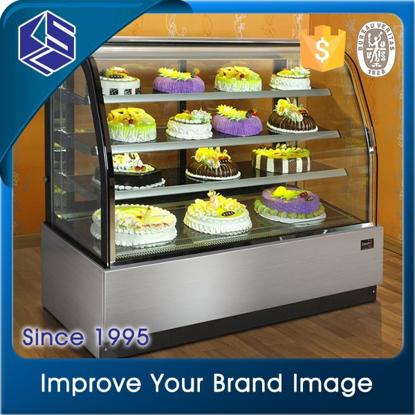 Kitchen Equipment Open Front Type bakery glass display showcases
