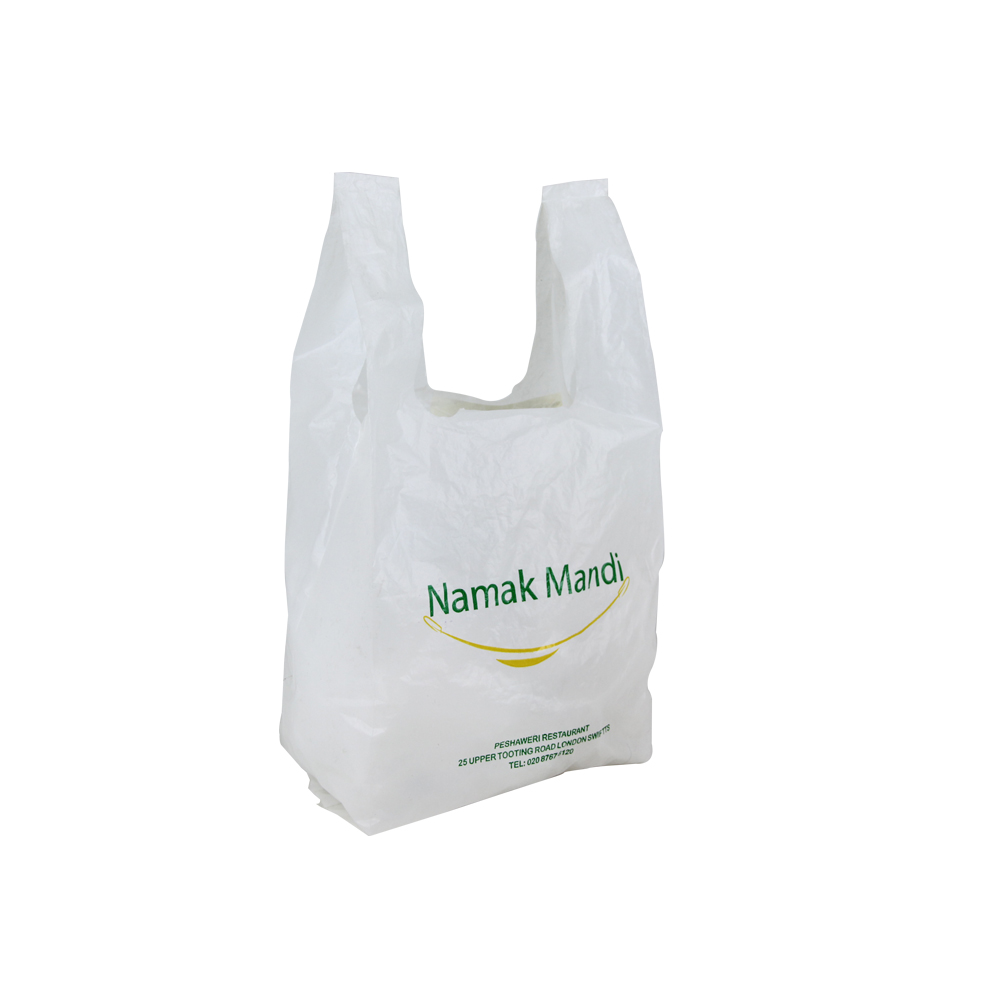 cheap carrier handle packaging t-shirt shop plastic bags