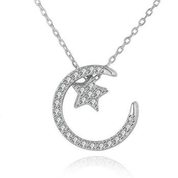 moon and star necklace jewelry wholesale 925 silver necklace jewelry