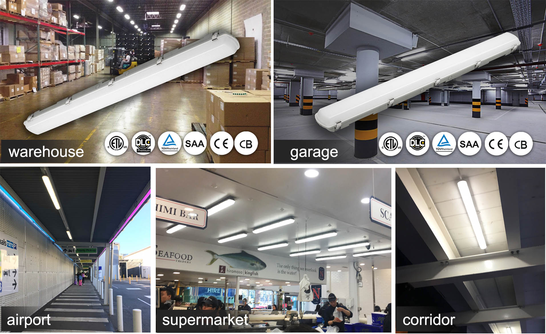 train Passageway Motion Sensor Waterproof ceiling fixtures 0.6m 1.2m 1.5m Triac dimming moisture proof Led Tube Light Fittings