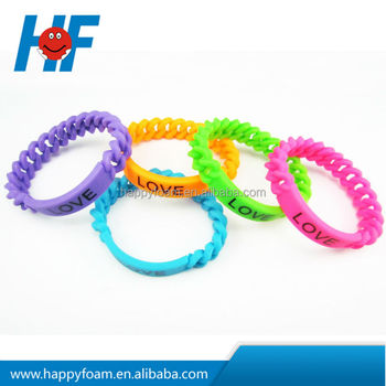 braided silicone bracelet /silicone chain arm band