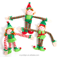EN71 plush Christmas elf hanging on candy cane toy /christmas ornaments stuffed elf dolls/Christmas tree decoration stuffed toys