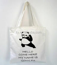 Recyclable trendy panda printed cheap price blank canvas sling bag