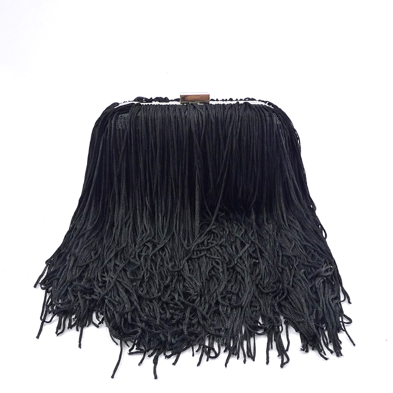 Hand made custom Hot-selling ladies Black Silk buy designer purses