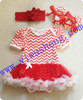 New designs red chevron baby tutu romper,soft chiffon baby girl tutu dress with ruffle