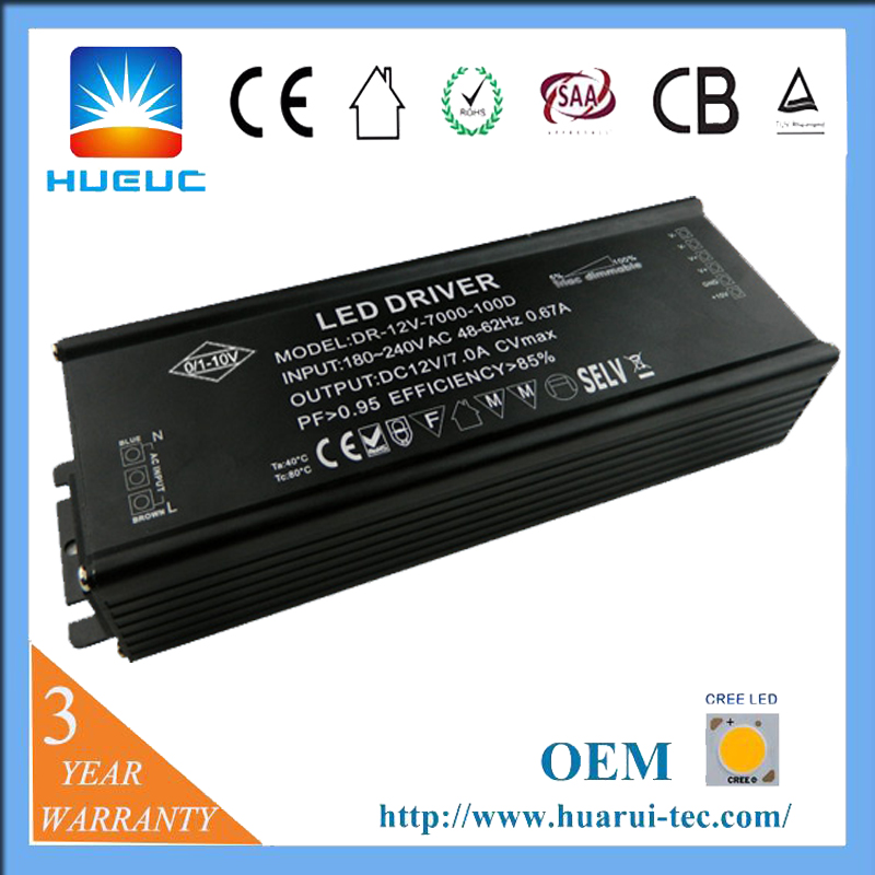 Waterproof 100w 5 - 100% dimming range constant current led dimmable driver
