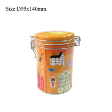 Delicate lovely air tight round coffee tin tea box with rubber band and circle metal