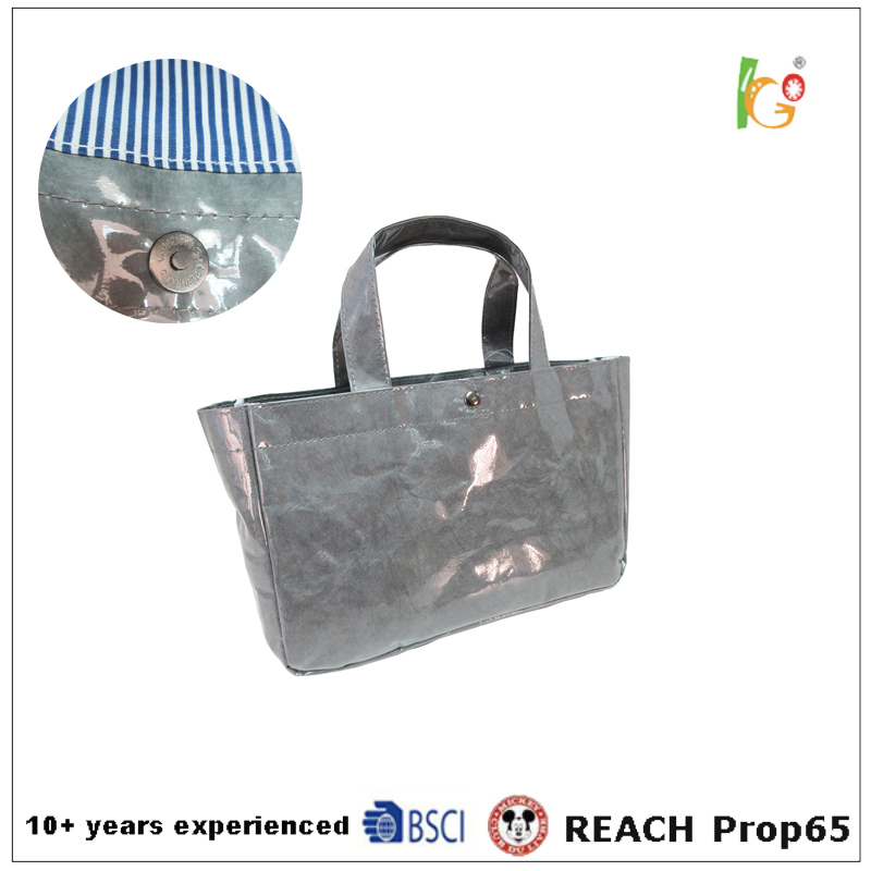 Kraft paper Tote Bags Lady Hand Bag with PVC cover