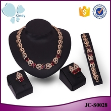 Middle eastern gold jewellery hollow chain red crystal rhinestone imitation ruby moti jewelry set