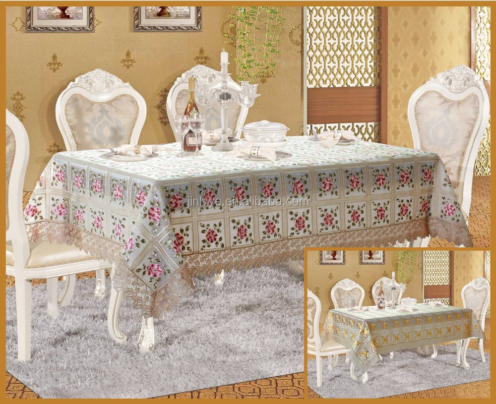 organdy embroidery table cover with rose pattern table cloth