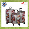 New Design Red Flower PU Travel Luggage Bag 3pcs Sets , PU Suitcase Sets