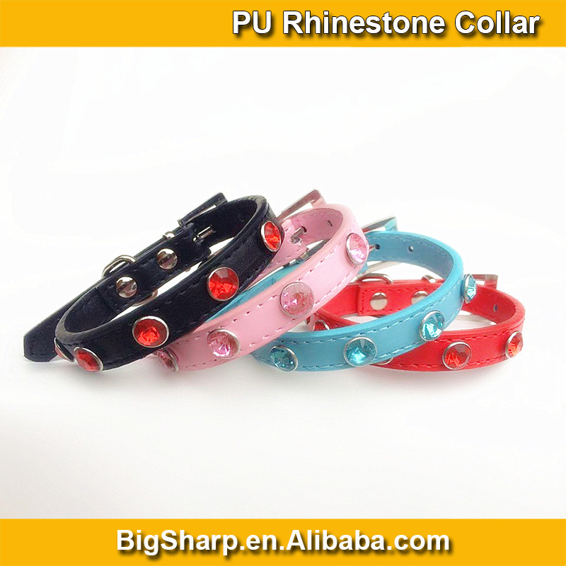 Handsome Gentle Beauty Dogs Dress Party PU Collar Black Blue Pink Red Luxury Color Rhinestones Collar in Leather Necklace CS025P