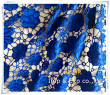 China shaoxing textile supply embroidered lace fabric with pu