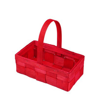 Wholesale Red rectangle wood chip basket with handles