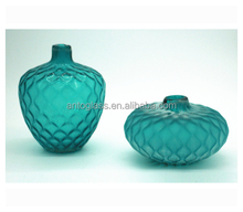 diamond embossed blue colored mouth blown different types glass vase for decoration