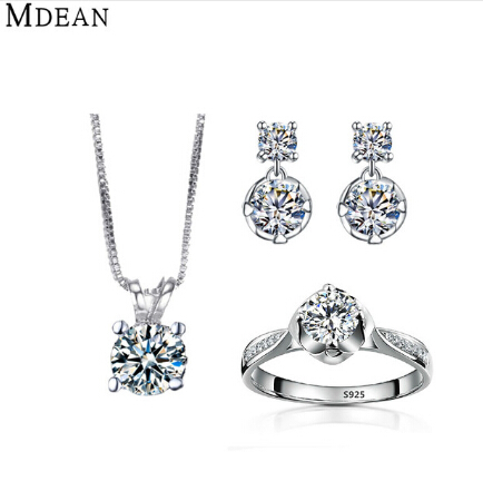 MDEAN White Gold cz diamond Jewelry <strong>Sets</strong> rings + earrings + necklace for women