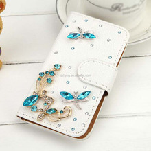 Luxury Glitter Bling Multi-color Crystal Diamond PU Leather Wallet Case With Card Slots Cover Shell For iPhone 4 4S
